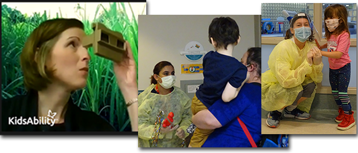 Collage of a therapist using green screen technology in a jungle, the first client is welcomed back onsite by a therapist in PPE and a therapist provides physiotherapy to a young girl in a mask