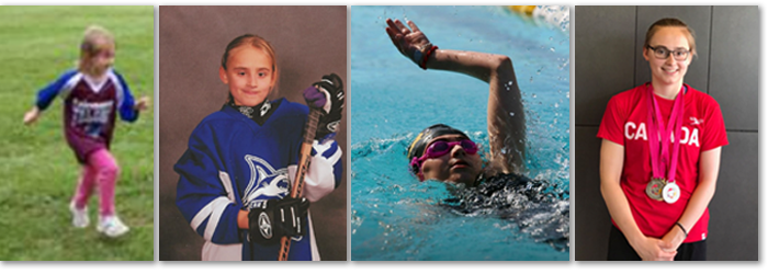 Photo collage of Megan Sherwin as a young girl running, playing hockey, swimming and standing in a Canada t-shirt wearing three medals